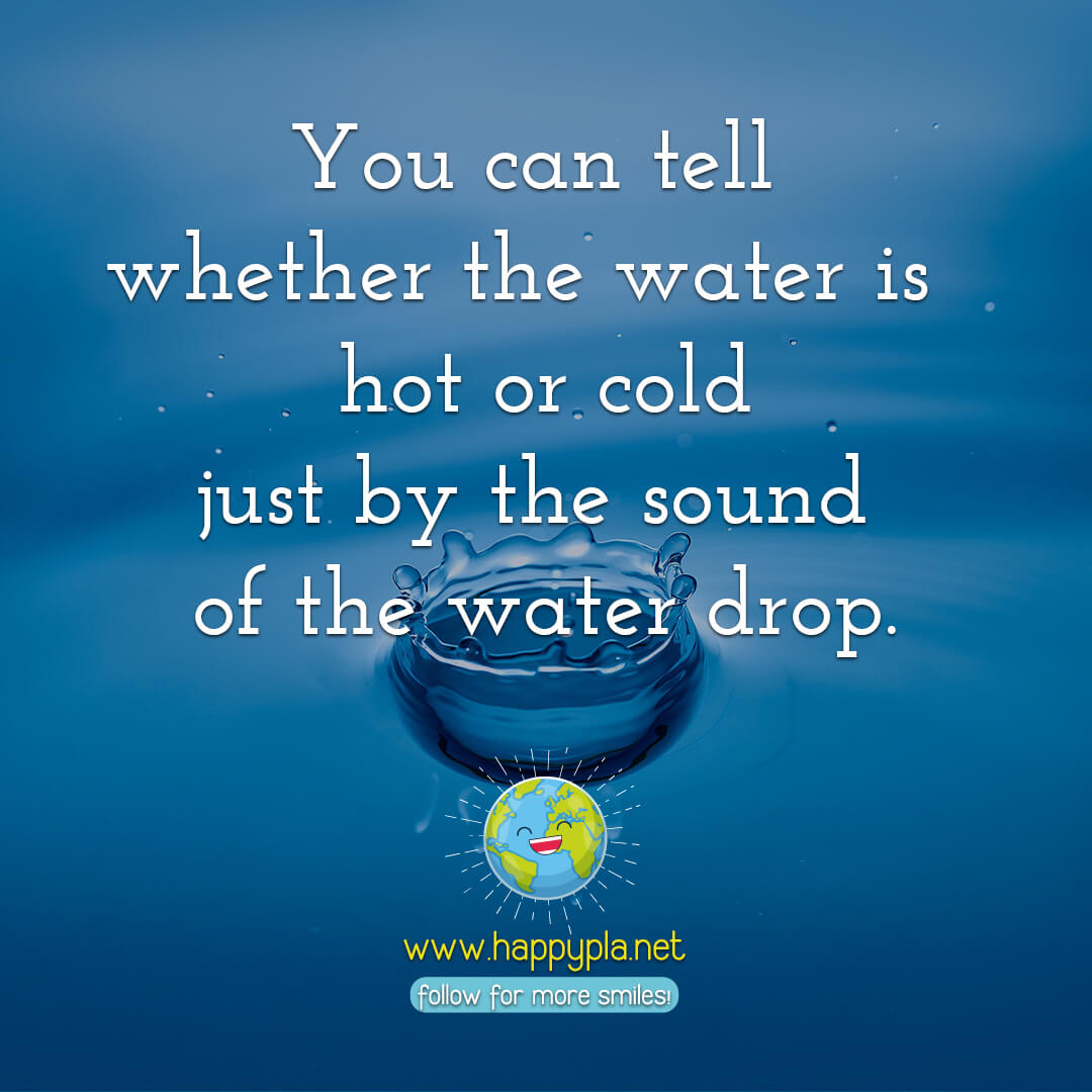 You can tell whether it is hot or cold water just by the sound of the water drop.