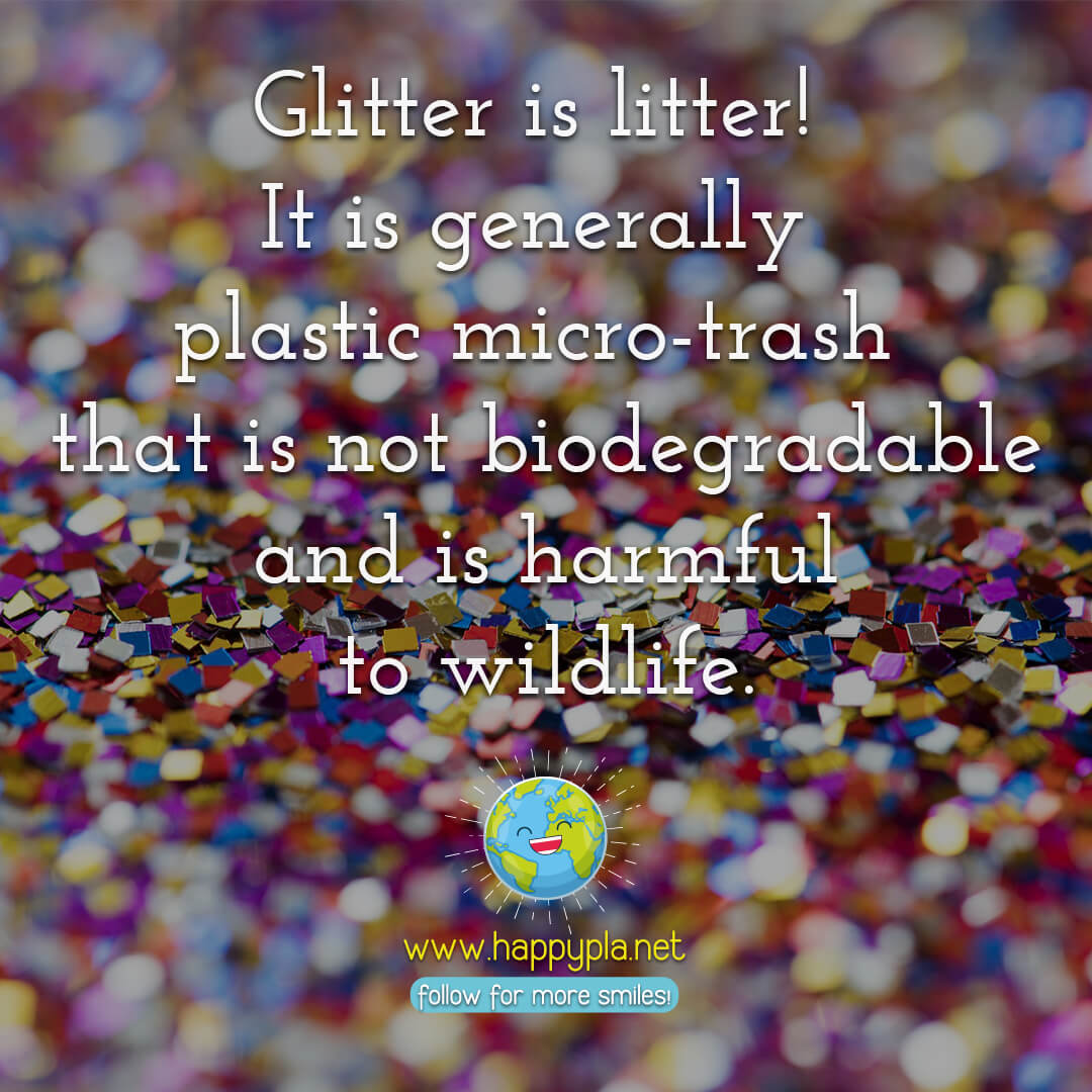 Glitter is litter! It is generally plastic micro-trash that is not biodegradable and is harmful to wildlife.