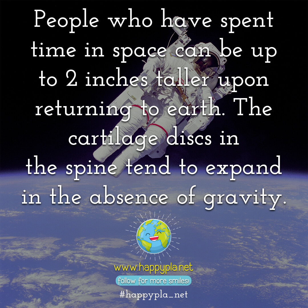People who have spent time in space can be up to 2 inches taller upon returning to earth. The cartilage discs in the spine tends to expand in the absence of gravity.