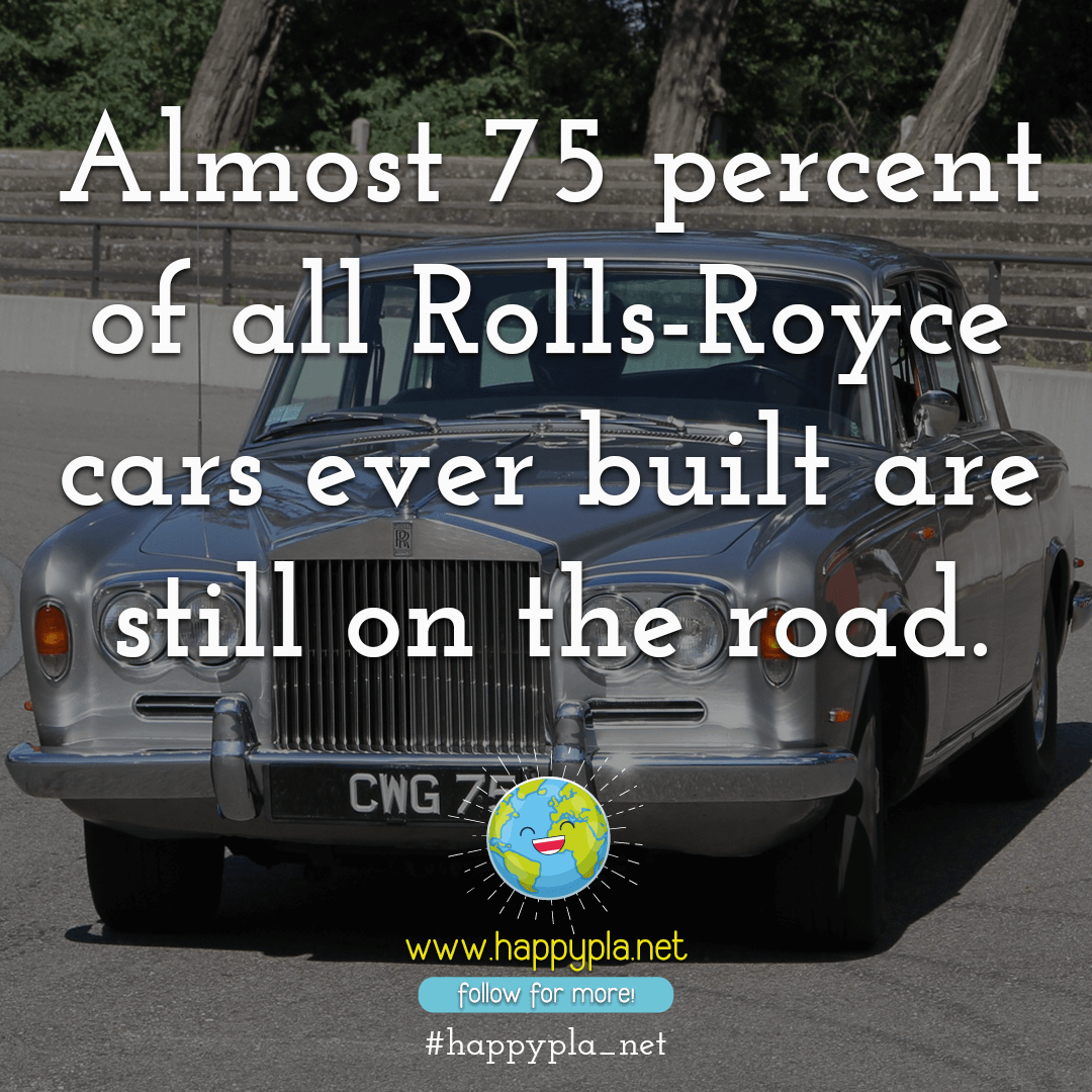 Almost 75 percent of all Rolls-Royce cars ever built are still on the road.