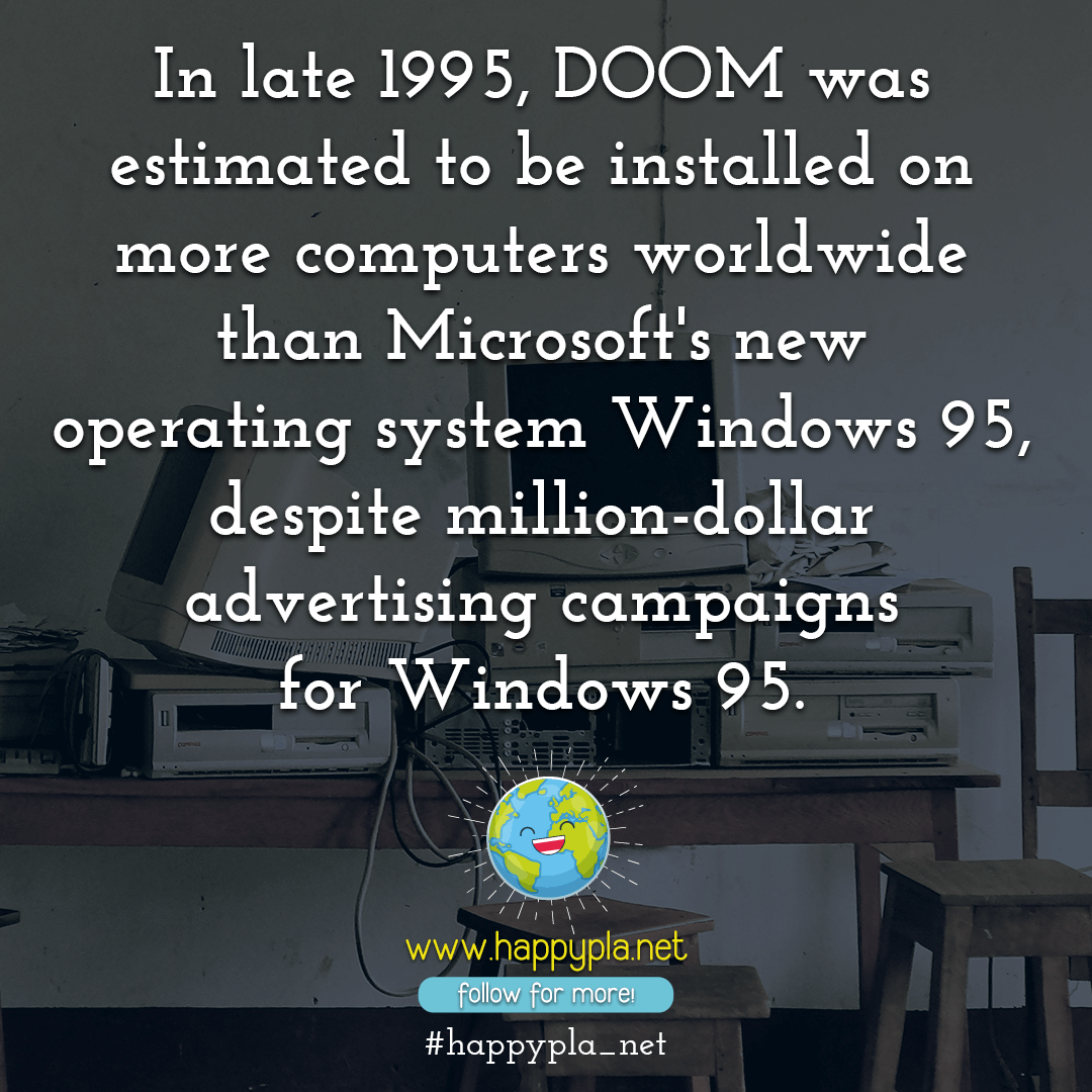 The Game Doom was installed on more computers than Windows 95!