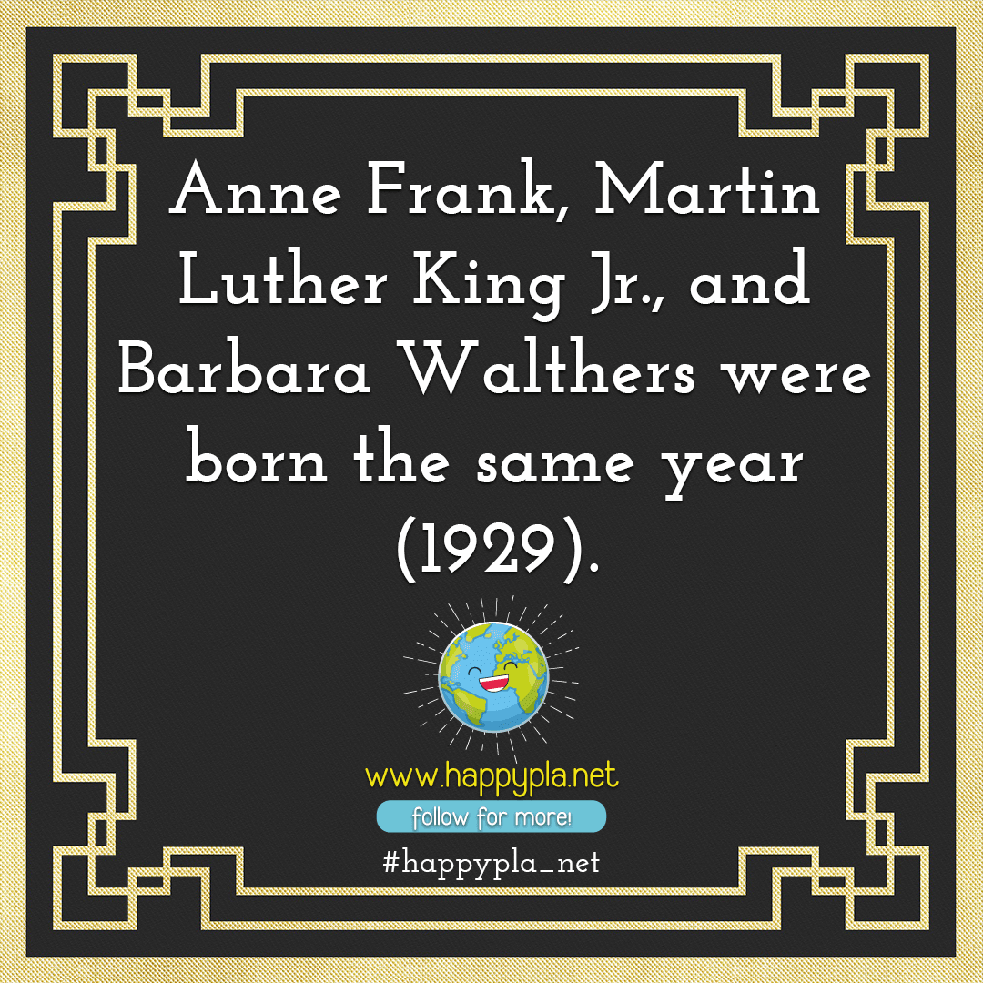 Anne Frank, Martin Luther King Jr., and Barbara Walthers were born the same year (1929).
