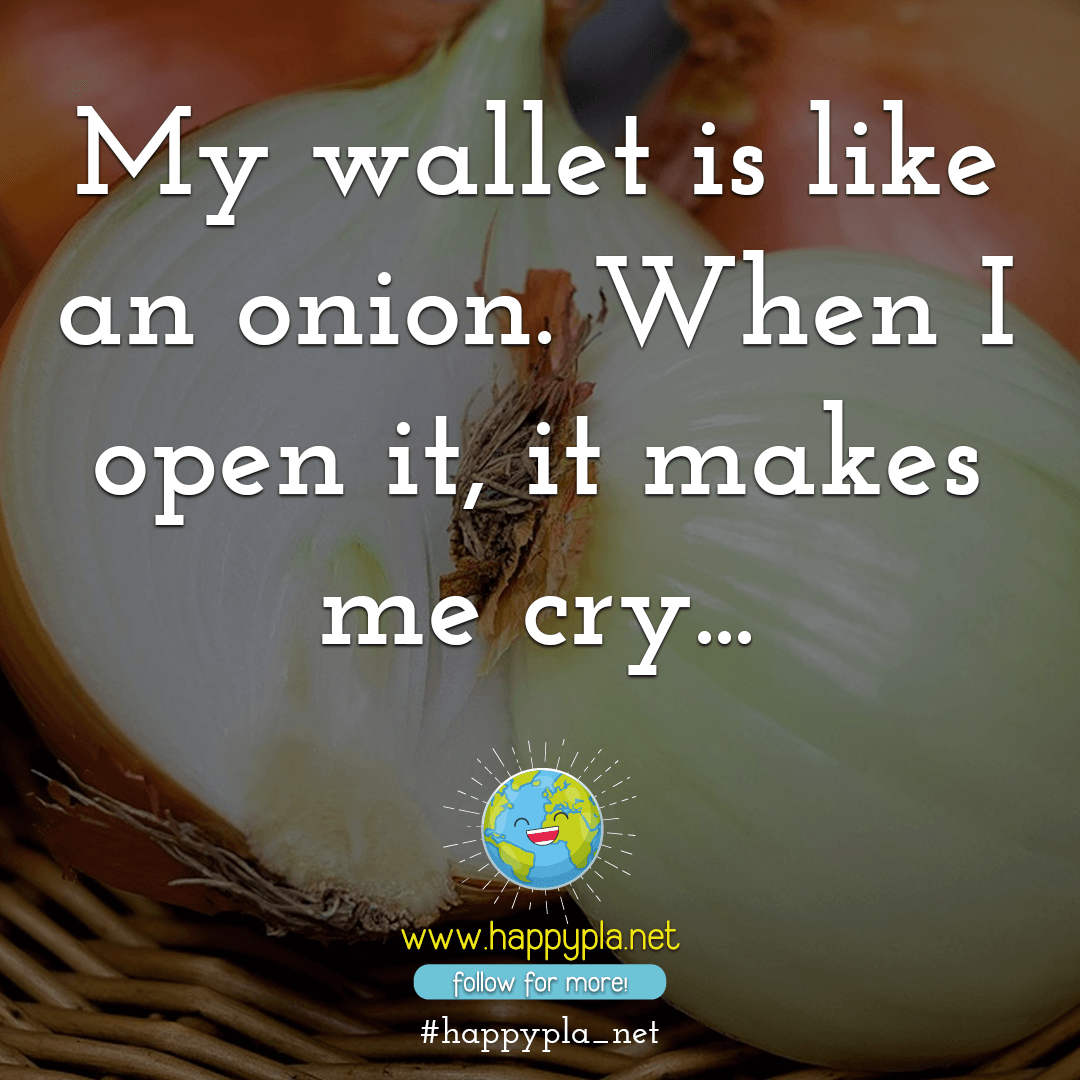 My wallet is like an onion. When I open it, it makes me cry...