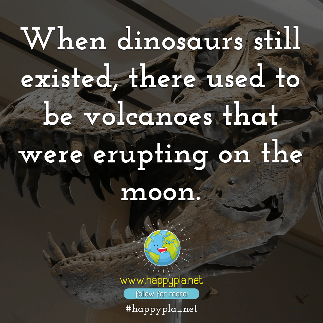 When dinosaurs still existed, there used to be volcanoes that were erupting on the moon.
