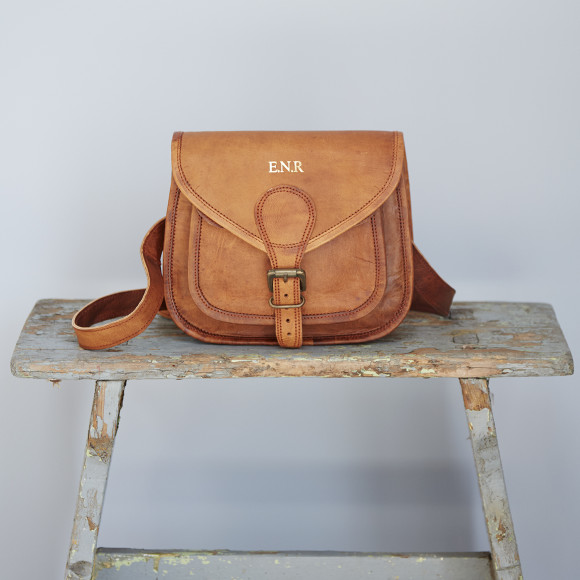 59221035d73c Personalised Curved Brown Leather Saddle Bag