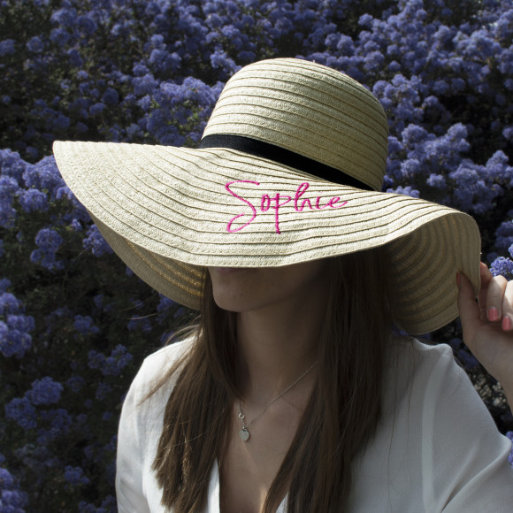 98171e27 Embroidered Personalised Wide Rim Summer Hat. by Solesmith .