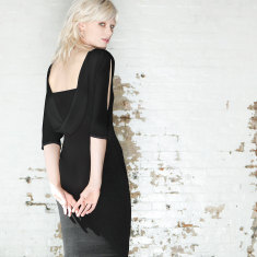 Jess split-sleeve cowl-back dress in black
