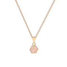 Mini Hexagon Natural Drusy Pendant Necklace