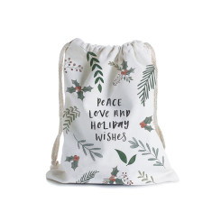 Peace love and holiday wishes Christmas canvas gift bag