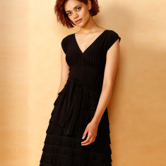 V-neck knee length ruffle dress in black