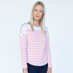 Nautical top striped with buttons - Coral