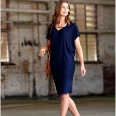 Nat batwing reversible jersey dress in navy
