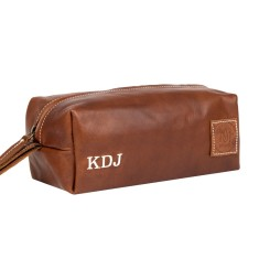 Leather Wash Bag (cream embroidered)