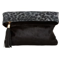 Rochas dress clutch black leopardo