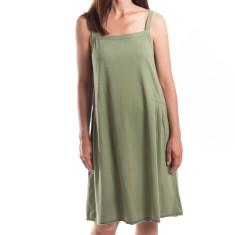 Side Pleat Dress in Khaki