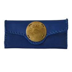 Zahra leather clutch in cobalt