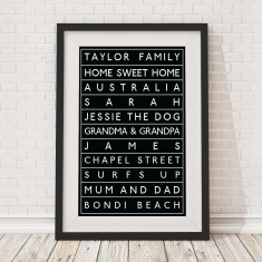 Personalised bus scroll print
