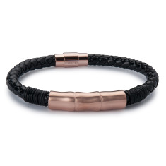 Leather Jawbone Bracelet - Rose Gold