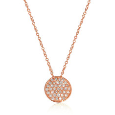 Twinkle diamond set pendant necklace in rose gold plate