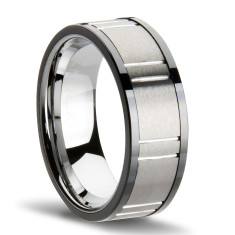 Armour grooved two-tone men's ring