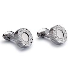 Abstract Circular Cufflinks - Silver