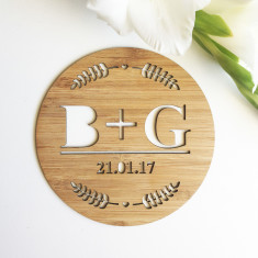 Leaves Personalised Initial and Wedding Plaque