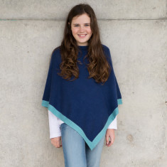 LIttle chicks poncho in dark blue with light blue trim