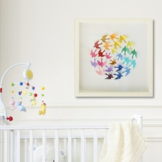 Wren rainbow ball framed paper cut artwork
