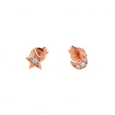 Mini 9ct gold diamond star & moon studs (Yellow, Rose or White Gold)