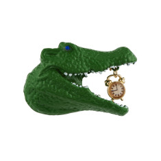 Crocodile And Ticking Clock Brooch