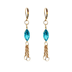 Petite fine brass and turquoise vintage glass chain tassel earrings