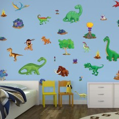 Children's small dinosaur wall stickers scene