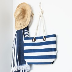 Striped Tote Bag with Rope Handle