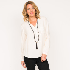 Rose top in plain black and plain cream