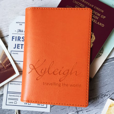 Personalised Passport Cover/Holder With Script Name