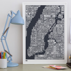 Bold & Noble New York City typographic map print