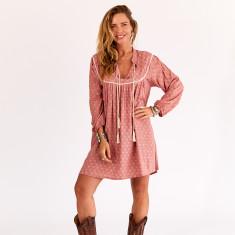 Smock dress in dusty pink