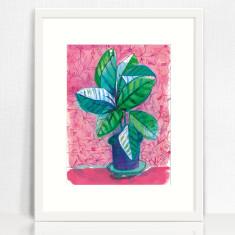 Happy House Plant archival art print hand drawn illustration