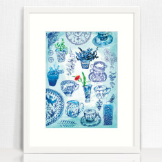 My Blue Collection archival art print hand drawn ink illustration