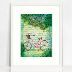 Happy Bike archival art print hand drawn bike illustration