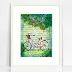 Happy Bike archival art print hand drawn bike illustration