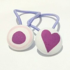 Purple heart fabric hair band (set of two)