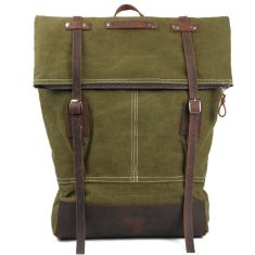 Canvas backpack with leather buckle in green