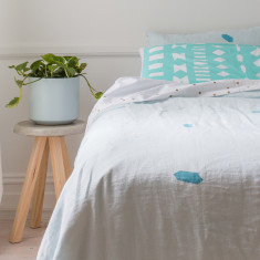 Blue skies linen doona cover