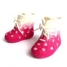 Pink dots wool booties