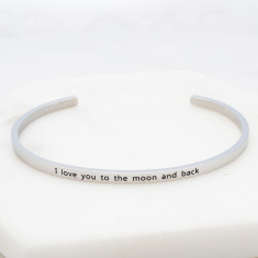 I love you to the moon and back bangle in silver