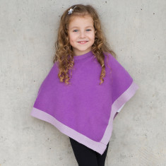 Little chicks poncho in purple with light purple trim