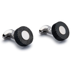 Abstract Circular Cufflinks - Black and Silver