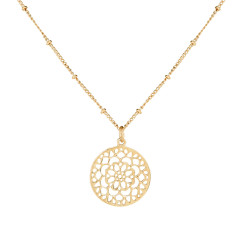 Mandala Pendant Necklace In Gold Plate