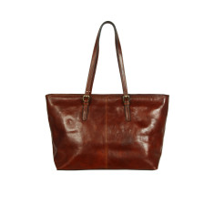 Elena full grain work bag in chocolate